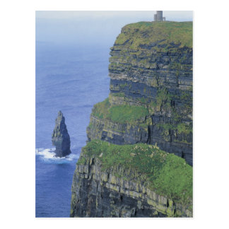 a stone castle standing on top a steep cliff in postcard