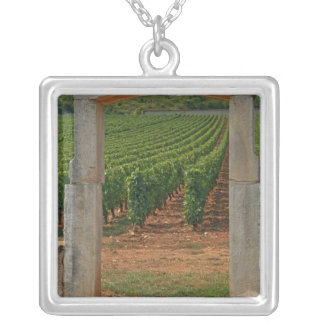 A stone portico to the vineyard square pendant necklace