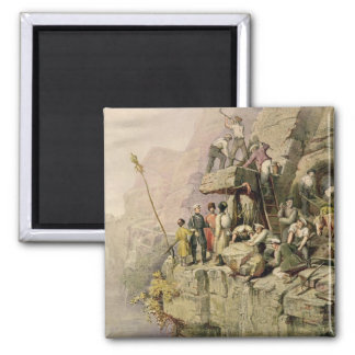 A Stone Quarry, 1833 (colour litho) 2 Inch Square Magnet