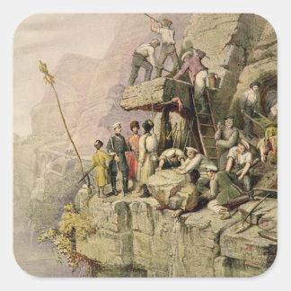 A Stone Quarry, 1833 (colour litho) Square Sticker