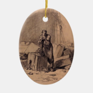 A stonemason by Jean-Francois Millet Double-Sided Oval Ceramic Christmas Ornament