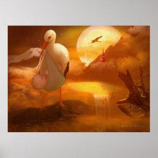 'A Stork's Precious Load' Art/Poster Poster