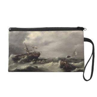 A Storm at Sea (oil on panel) Wristlet Purses