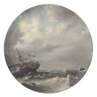 A Storm at Sea (oil on panel) Melamine Plate