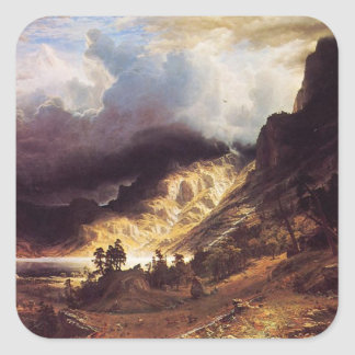 A storm in the Rock Mountains, Bierstadt Albert Square Sticker