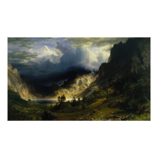 A Storm in the Rocky Mountains, Bierstadt Poster