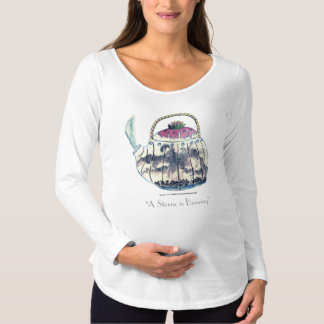 A Storm is Brewing in a Watercolor Teapot Maternity T-Shirt