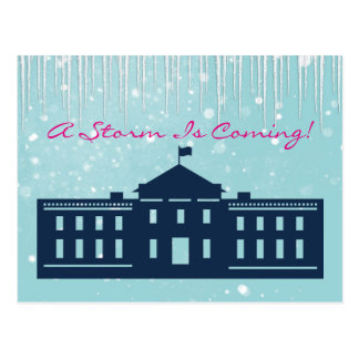 """""""A Storm is Coming"""" With Snow & Whitehouse Postcard"""