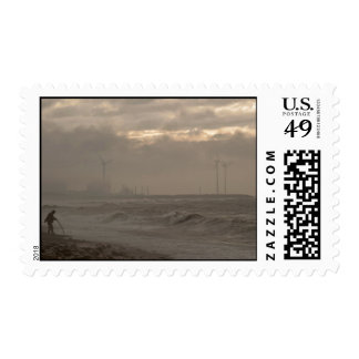 A stormy day at the beach postage stamp