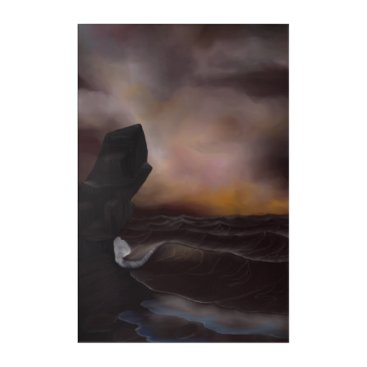 Beach Themed A Stormy Ocean Acrylic Wall Art
