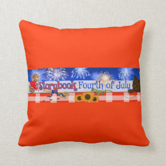 """""""A Storybook Fourth of July"""" Throw Pillow, Square Pillow"""