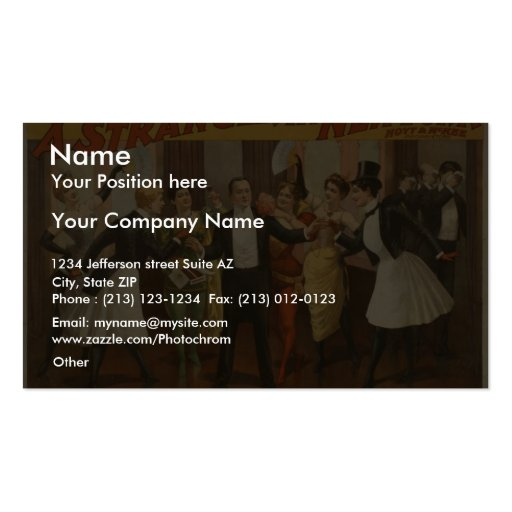 A Stranger in New York Vintage Theater Business Cards