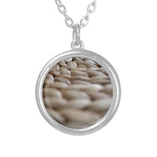A Straw Braid's Spiral Round Pendant Necklace