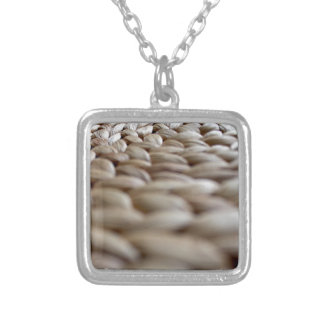 A Straw Braid's Spiral Square Pendant Necklace