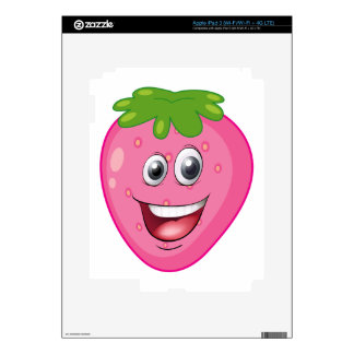 a strawberry with a face decal for iPad 3
