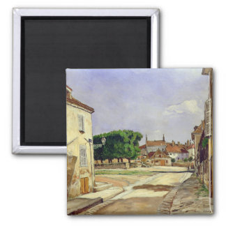 A Street in Avallon 2 Inch Square Magnet