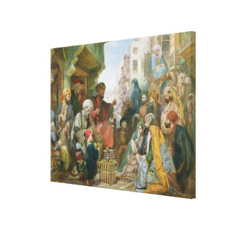 A Street in Cairo (w/c on paper) Canvas Print