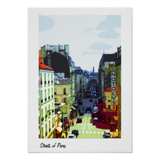A Street in Paris, France Poster