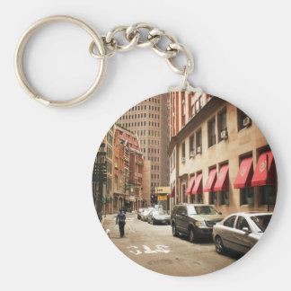 A Street Scene in the Financial District Basic Round Button Keychain