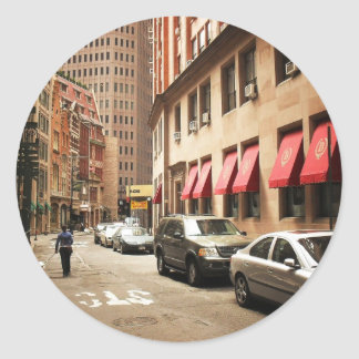 A Street Scene in the Financial District Classic Round Sticker
