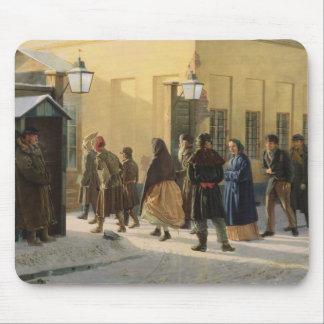 A street scene, outside a prison, 1868 mouse pad