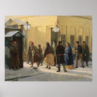 A street scene, outside a prison, 1868 poster