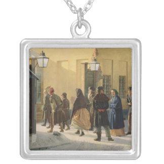 A street scene, outside a prison, 1868 square pendant necklace