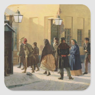 A street scene, outside a prison, 1868 square sticker