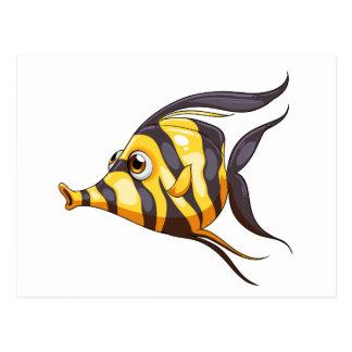 A stripe-colored fish postcard