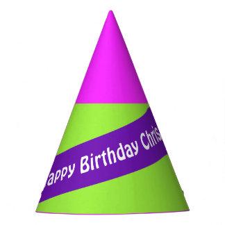 A Stripe purple + Your Colors & Text Party Hat