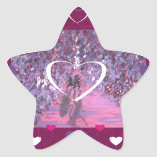 A Stroll Down Primrose Lane with Hearts Star Sticker