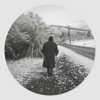A Stroll in the Snow Classic Round Sticker