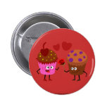 a Stud Muffin giving a flower to a Cupcake Pinback Buttons