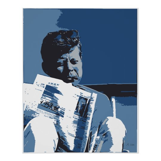 A study in blue: John F. Kennedy pop art Poster