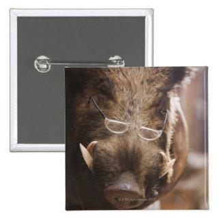 a stuffed wild boar wearing glasses outside a button