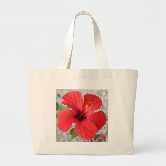 A Stunning Scarlet Hibiscus Tropical Flower Large Tote Bag