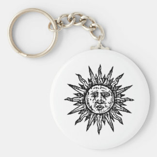A stylized Black and White Sun sign Keychain