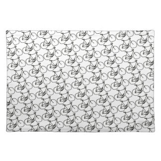a stylized black bicycle cloth placemat