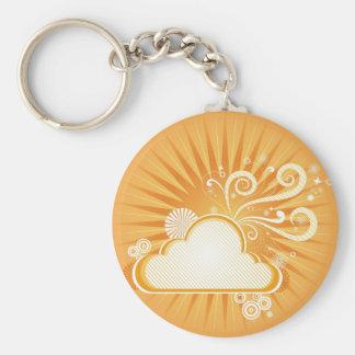 A stylized orange retro sunshine basic round button keychain