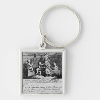 A Subscription Ticket for 'A Harlot's Silver-Colored Square Keychain