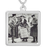 A Suffragette selling newspapers to two Square Pendant Necklace