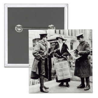 A Suffragette selling newspapers to two Pinback Button