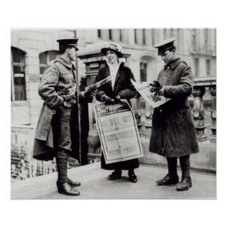 A Suffragette selling newspapers to two Poster
