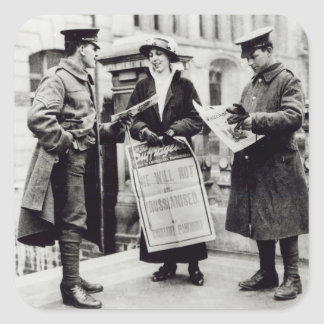 A Suffragette selling newspapers to two Square Sticker