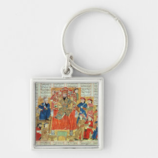 A Sultan and his Court Silver-Colored Square Keychain