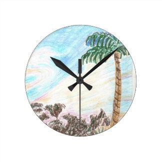 A Sun Set in Paridise Round Clock