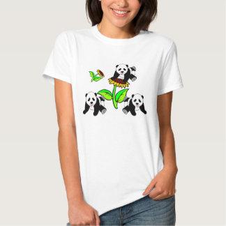 A Sunflower and Panda Bears Tee Shirt