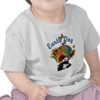 A Sunflower and Panda Earth T-shirts