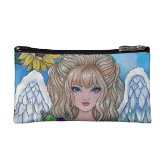 """""""A Sunflower Blessing"""" angel cosmetic purse bag Cosmetic Bags"""