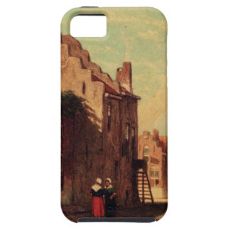 A Sunlit Townview With Figures Conversing by Johan iPhone SE/5/5s Case